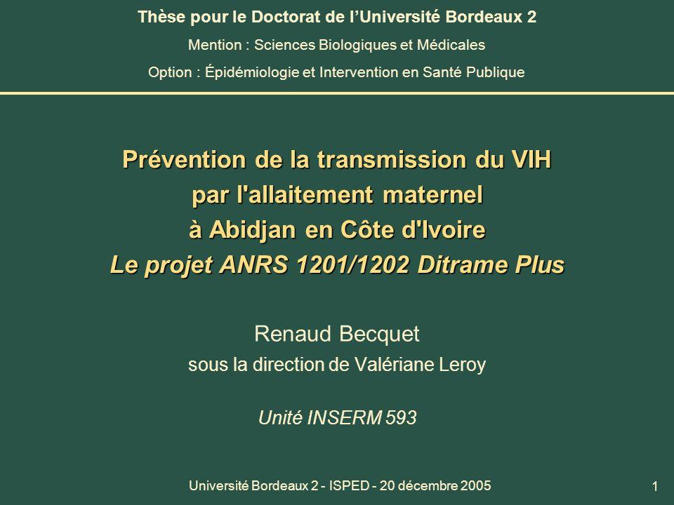 Renaud Becquet sous la direction de Valériane Leroy Unité INSERM 593