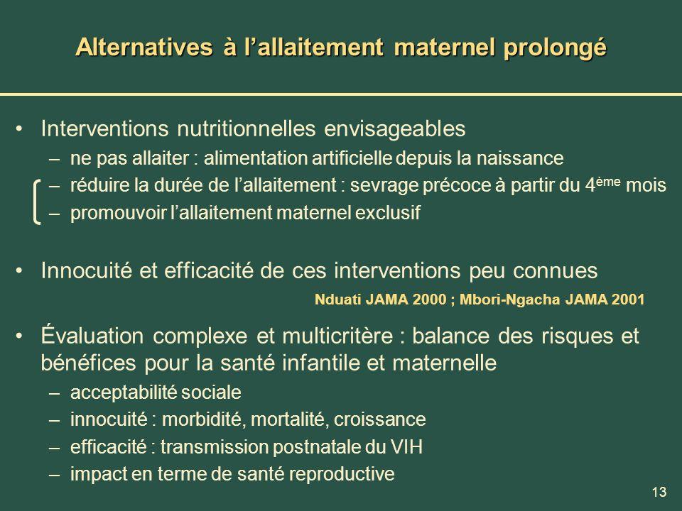 Alternatives à l'allaitement maternel prolongé