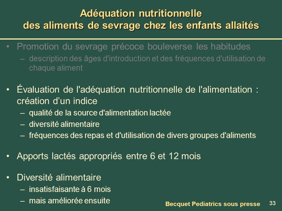 Adéquation nutritionnelle des aliments de sevrage chez les enfants allaités