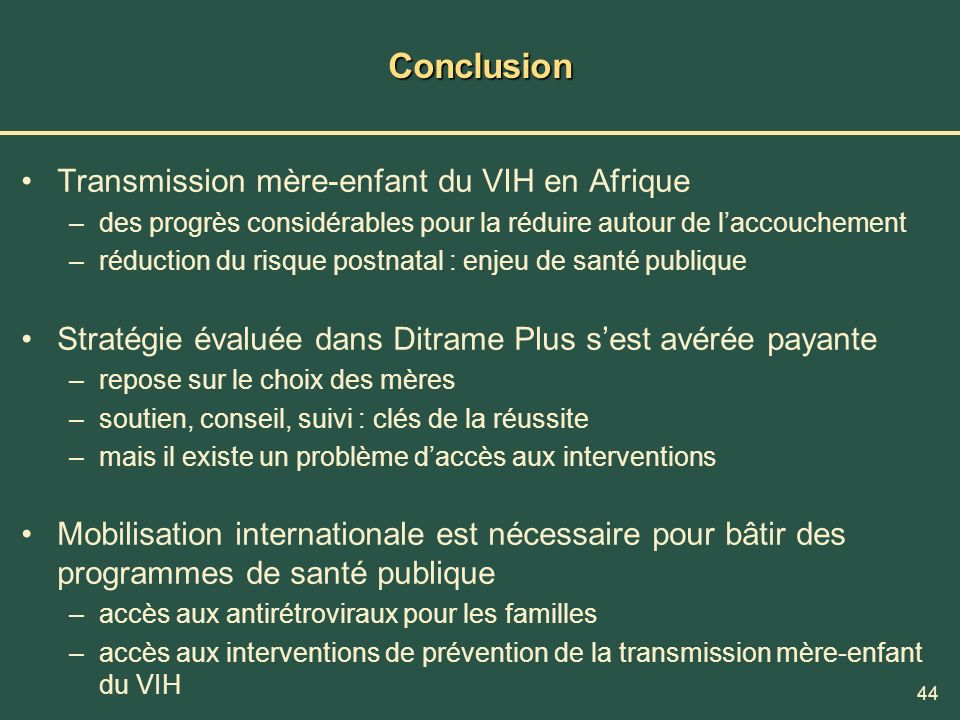 Conclusion Transmission mère-enfant du VIH en Afrique