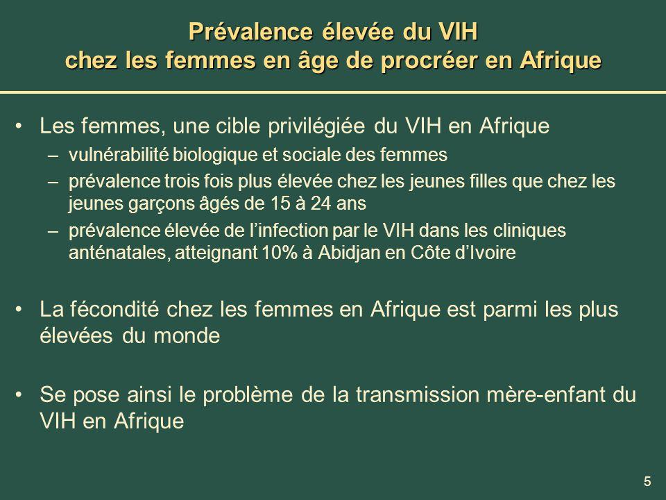 Prévalence élevée du VIH chez les femmes en âge de procréer en Afrique