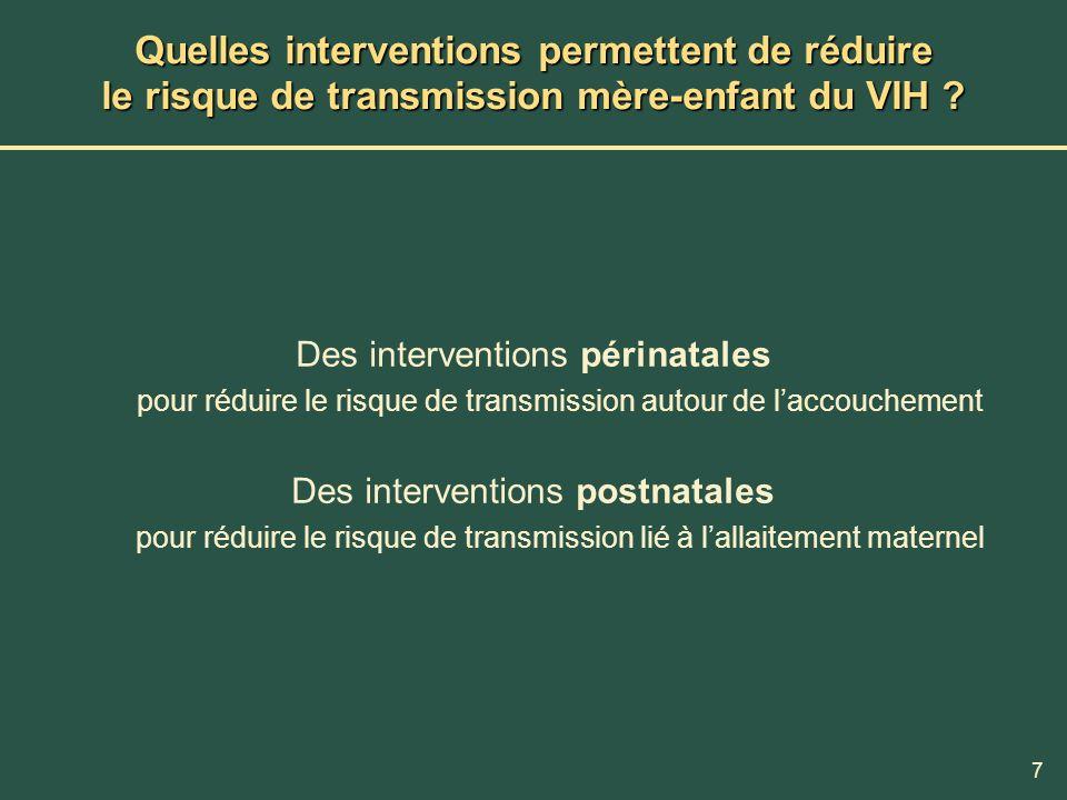 Quelles interventions permettent de réduire le risque de transmission mère-enfant du VIH