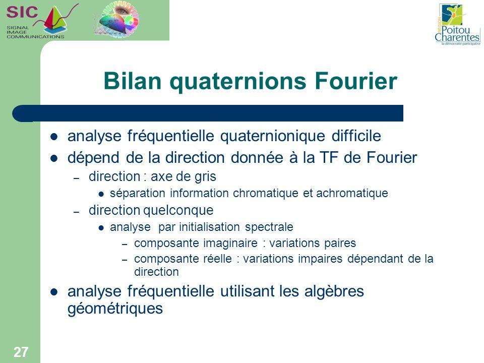 Bilan quaternions Fourier