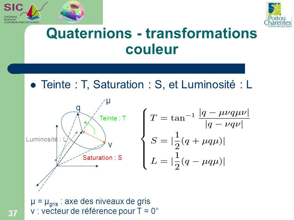 Quaternions - transformations couleur