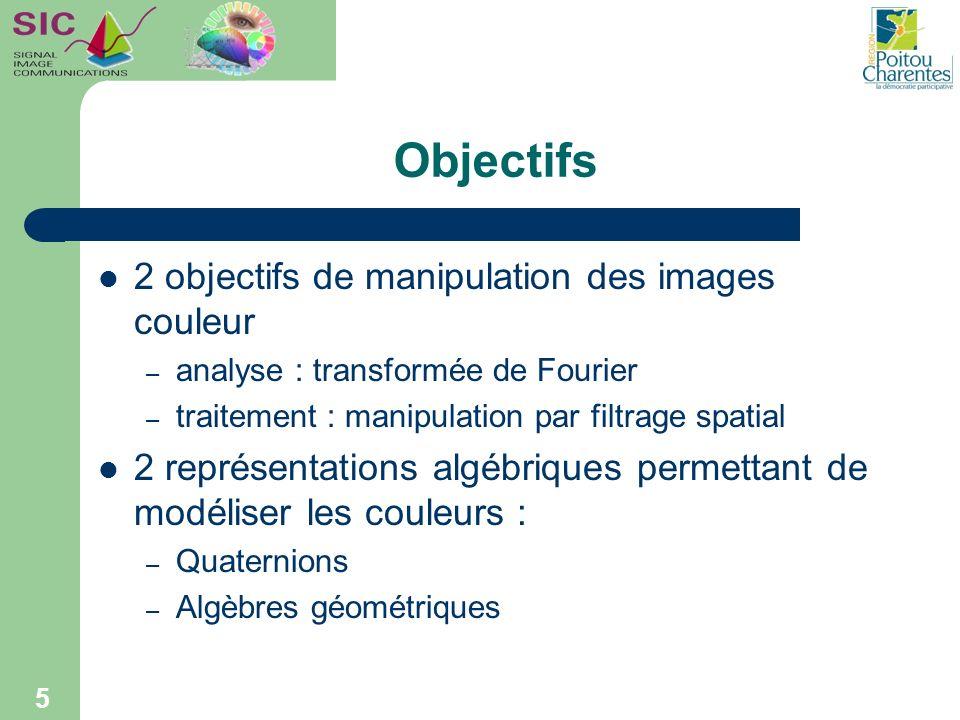 Objectifs 2 objectifs de manipulation des images couleur