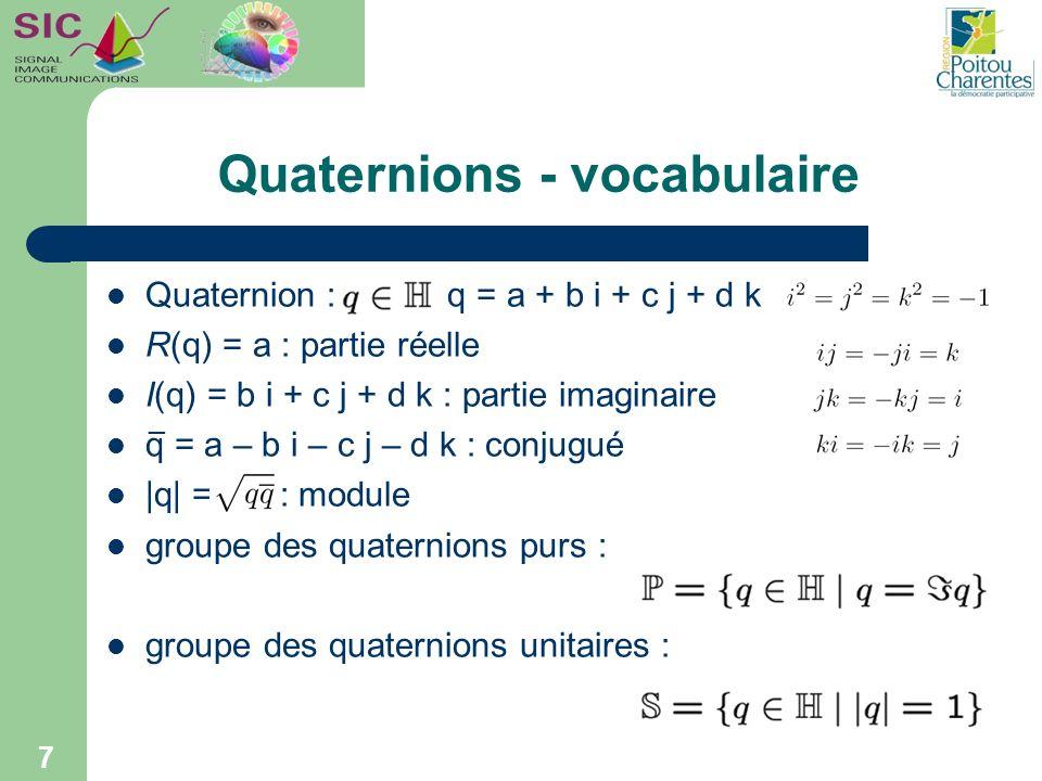 Quaternions - vocabulaire