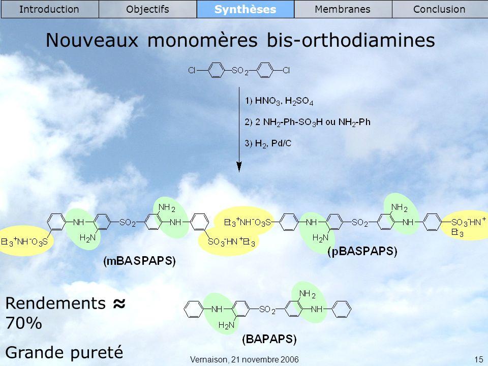 Nouveaux monomères bis-orthodiamines