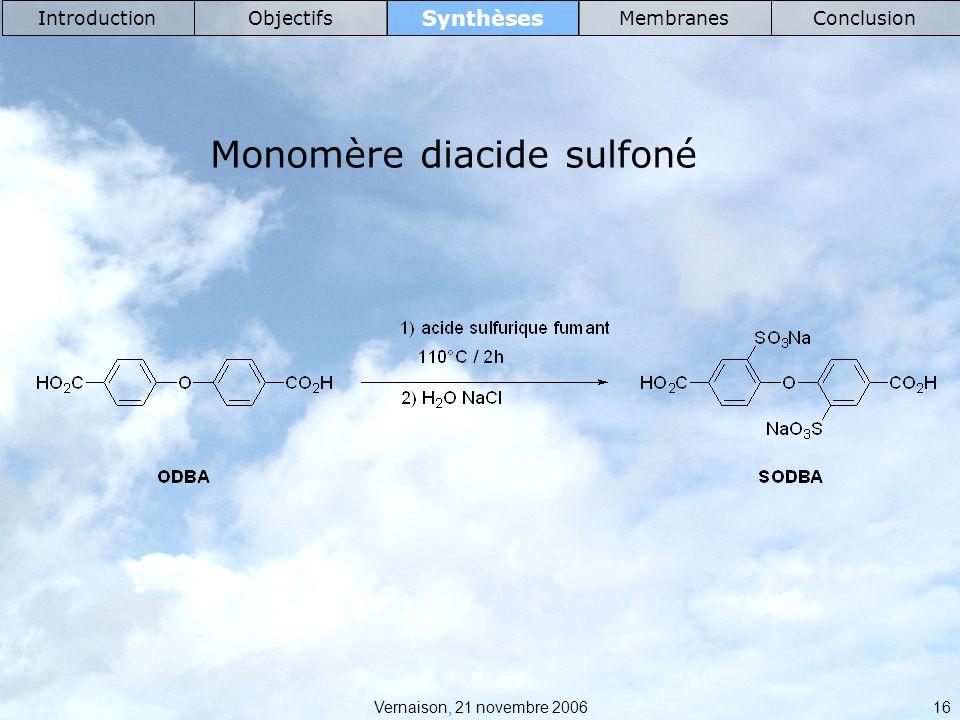 Monomère diacide sulfoné