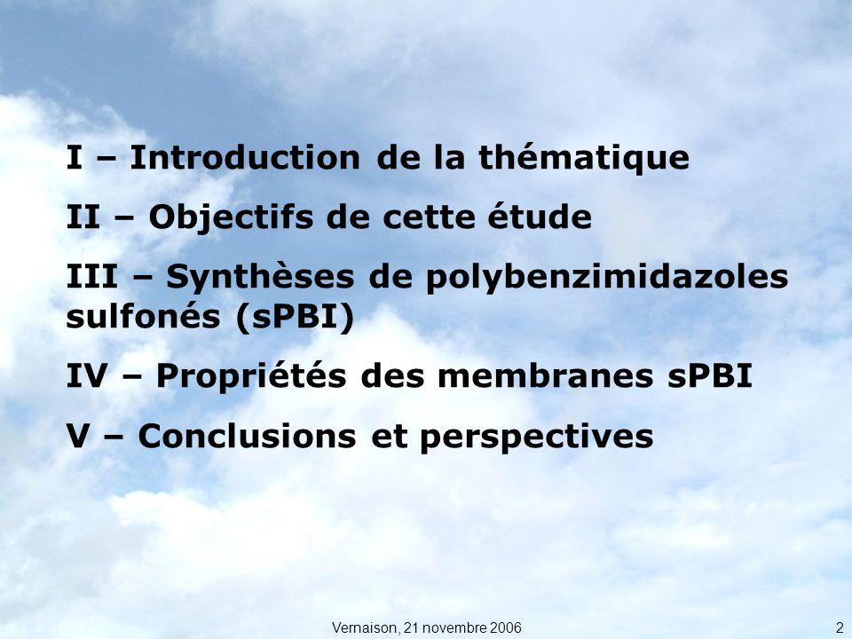 I – Introduction de la thématique II – Objectifs de cette étude