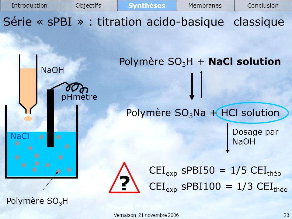 Série « sPBI » : titration acido-basique classique
