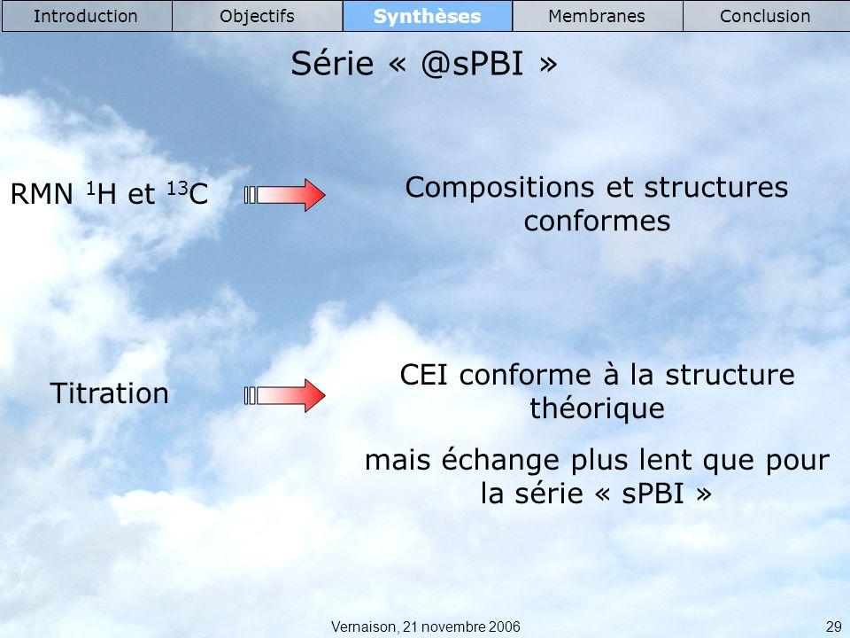 Série « @sPBI » Compositions et structures conformes RMN 1H et 13C