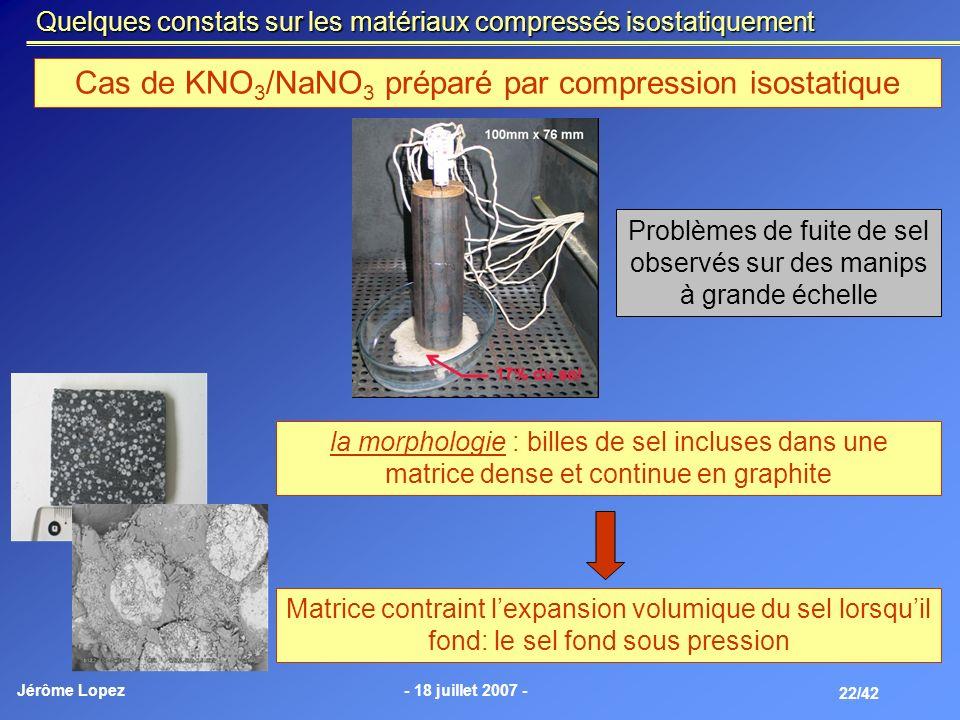 Cas de KNO3/NaNO3 préparé par compression isostatique