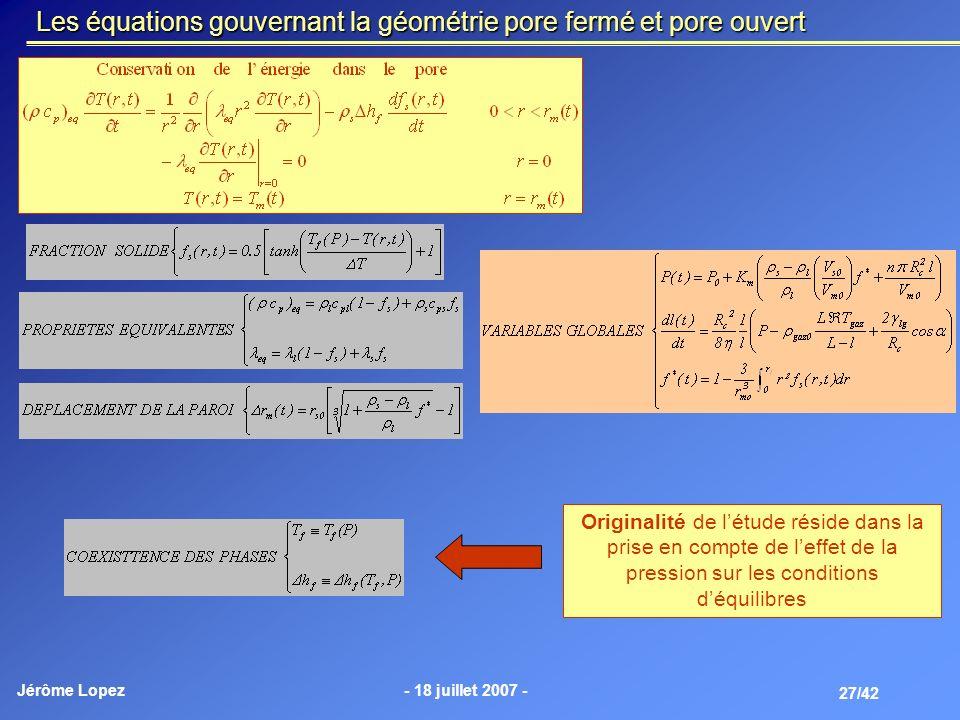 Les équations gouvernant la géométrie pore fermé et pore ouvert