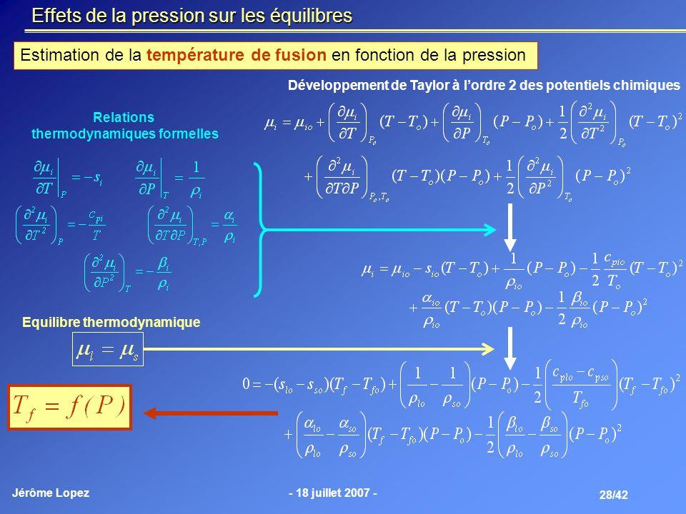 thermodynamiques formelles Equilibre thermodynamique