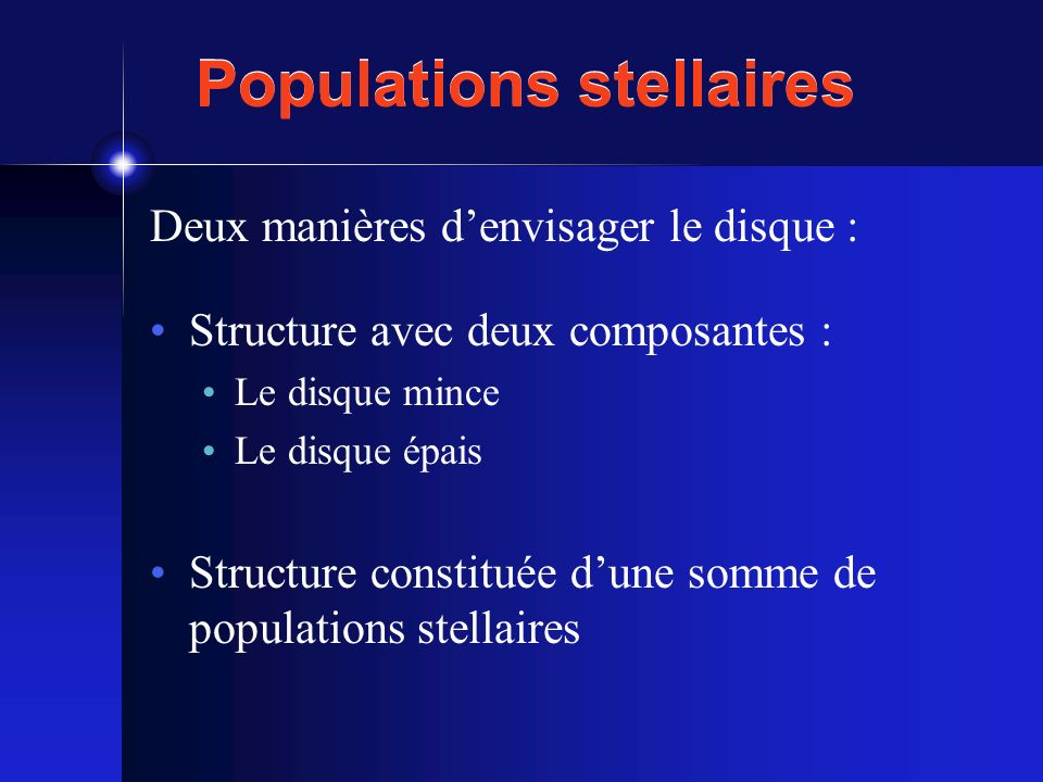 Populations stellaires