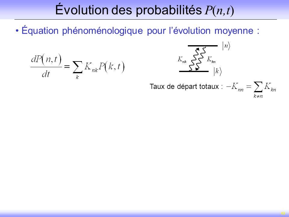 Évolution des probabilités P(n,t)