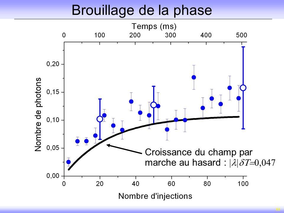 Brouillage de la phase Croissance du champ par marche au hasard : |l|dT=0,047