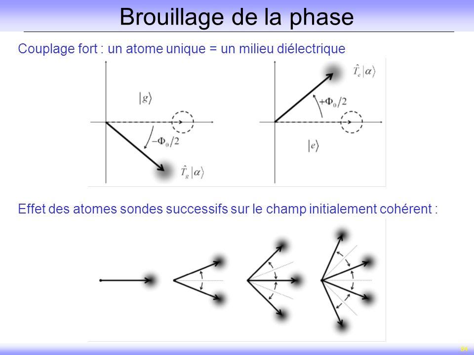 Brouillage de la phase Couplage fort : un atome unique = un milieu diélectrique.