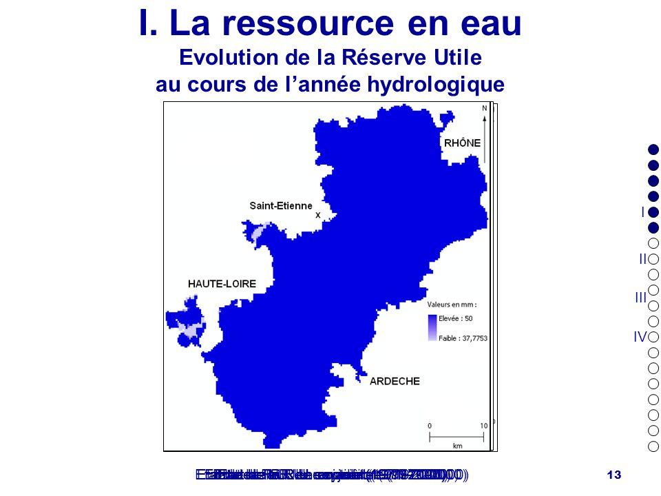 I. La ressource en eau Evolution de la Réserve Utile au cours de l'année hydrologique