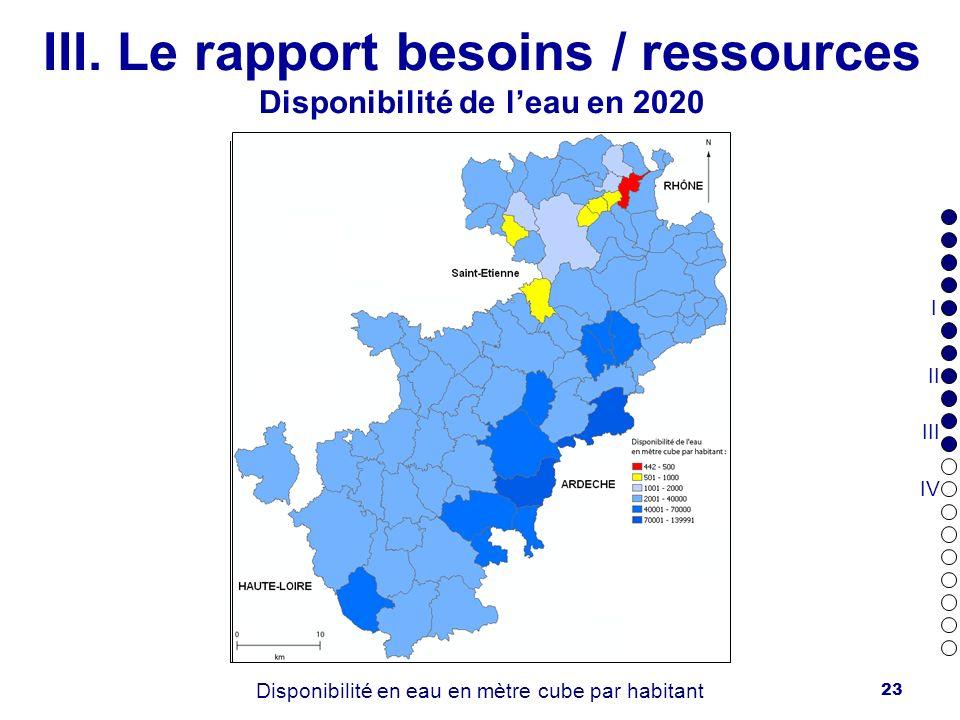 III. Le rapport besoins / ressources Disponibilité de l'eau en 2006