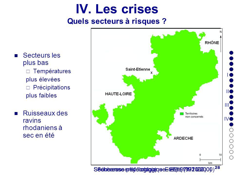 IV. Les crises Quels secteurs à risques