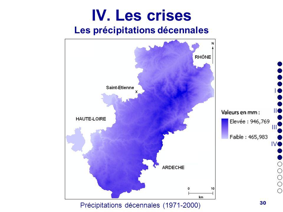 IV. Les crises Les précipitations décennales