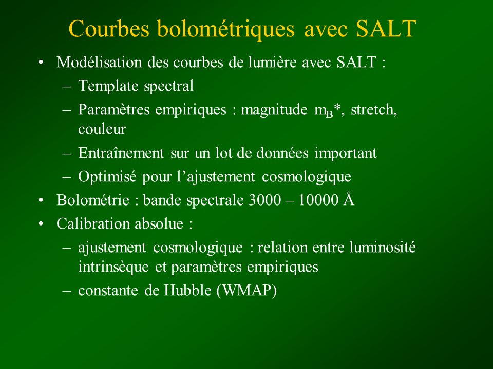 Courbes bolométriques avec SALT