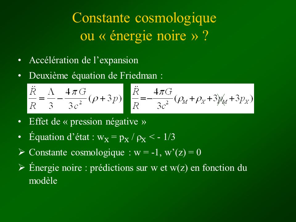 Constante cosmologique ou « énergie noire »