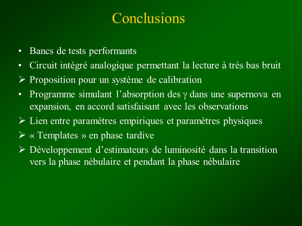Conclusions Bancs de tests performants