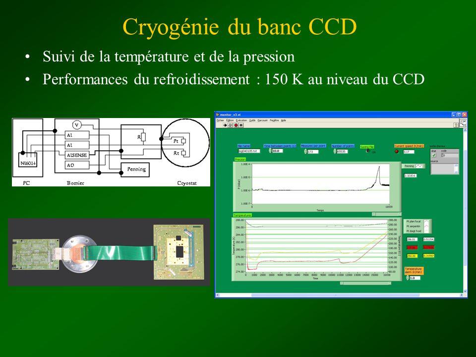Cryogénie du banc CCD Suivi de la température et de la pression