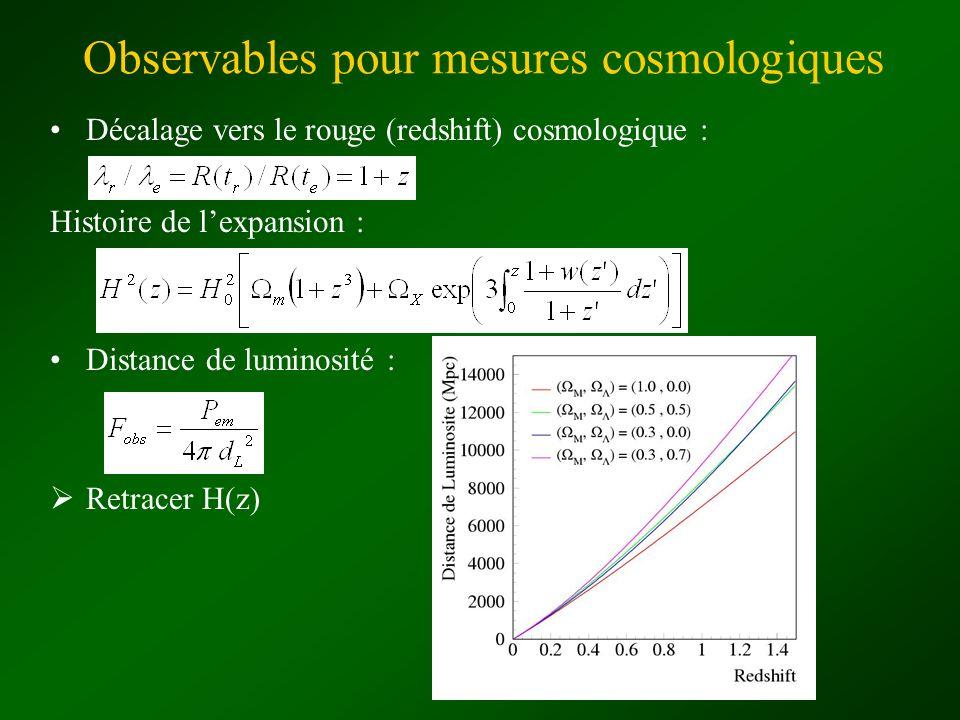 Observables pour mesures cosmologiques