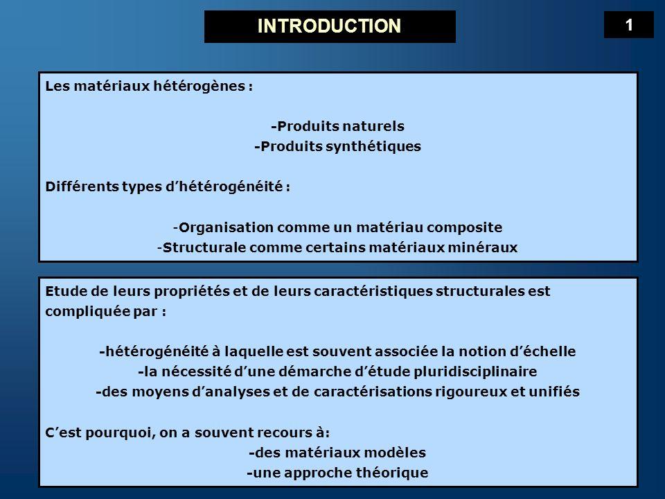 INTRODUCTION 1 Les matériaux hétérogènes : -Produits naturels