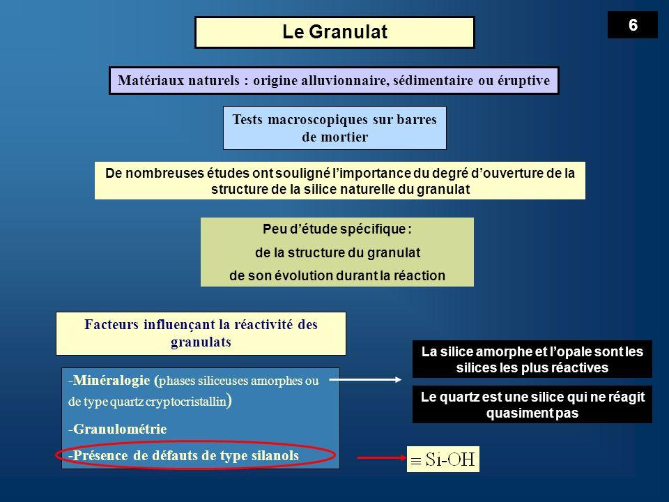 6 Le Granulat. Matériaux naturels : origine alluvionnaire, sédimentaire ou éruptive. Tests macroscopiques sur barres de mortier.