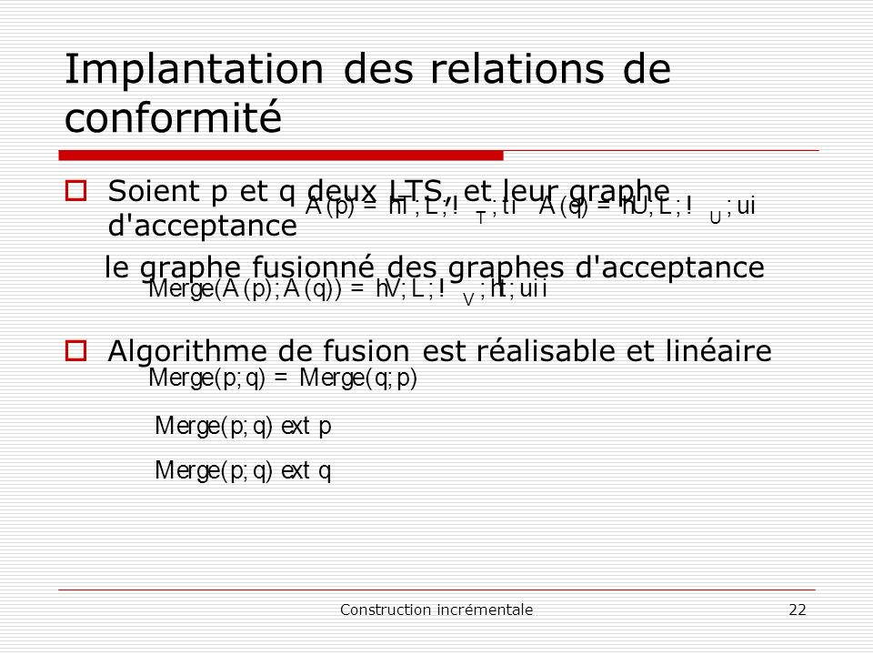 Implantation des relations de conformité