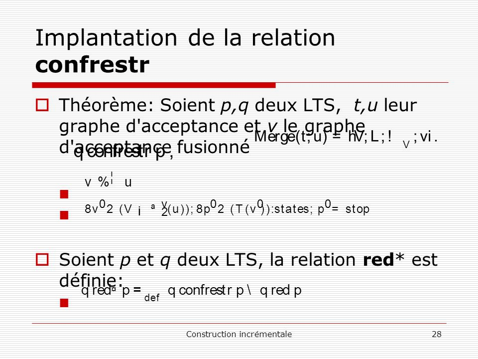 Implantation de la relation confrestr