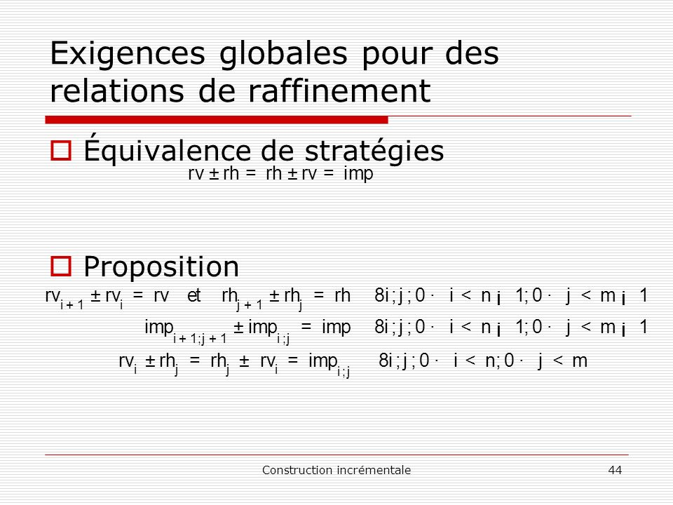 Exigences globales pour des relations de raffinement