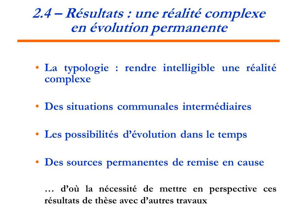2.4 – Résultats : une réalité complexe en évolution permanente
