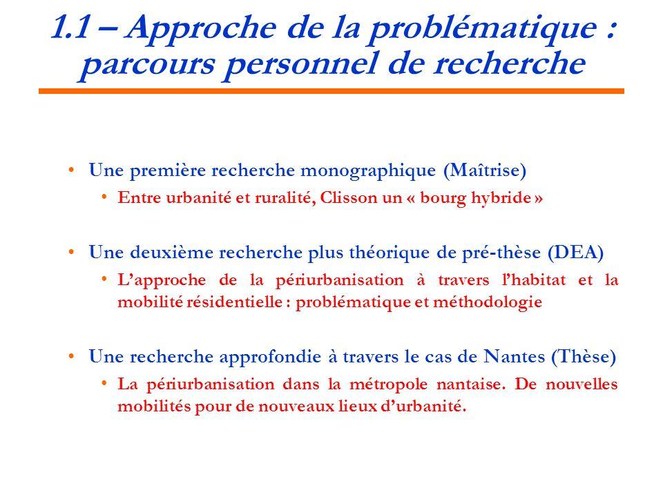 1.1 – Approche de la problématique : parcours personnel de recherche