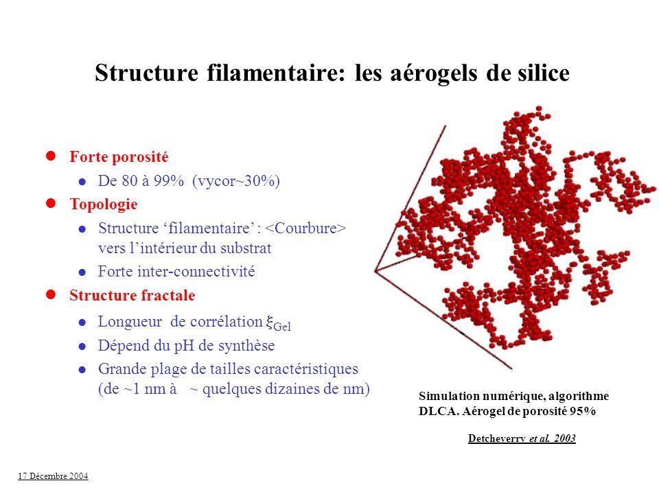 Structure filamentaire: les aérogels de silice