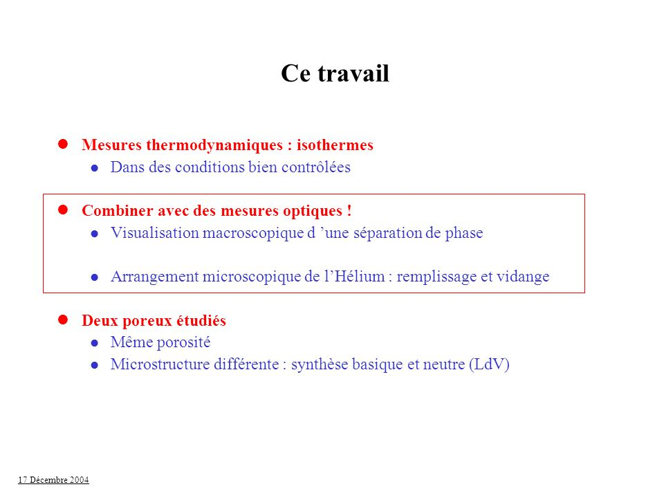Ce travail Mesures thermodynamiques : isothermes