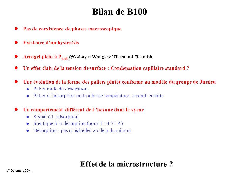 Bilan de B100 Effet de la microstructure