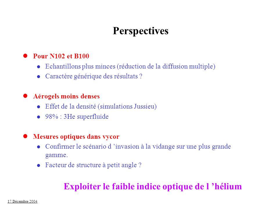 Perspectives Exploiter le faible indice optique de l 'hélium
