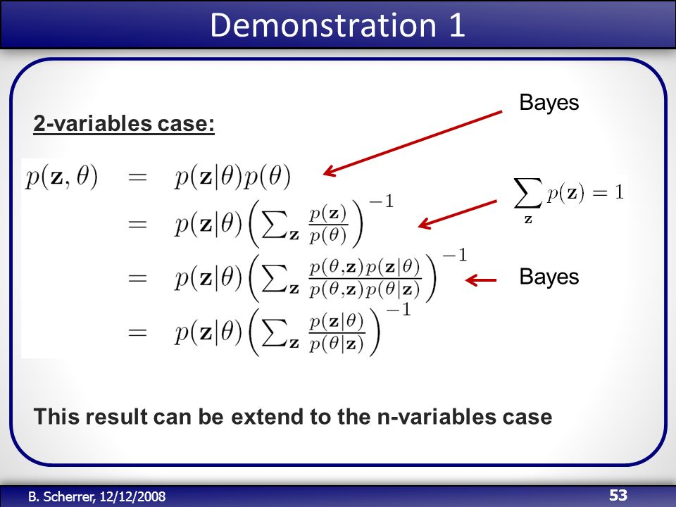 Demonstration 1 Bayes 2-variables case: Bayes
