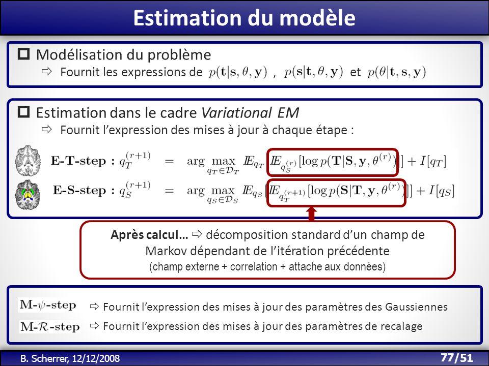 Estimation du modèle Modélisation du problème