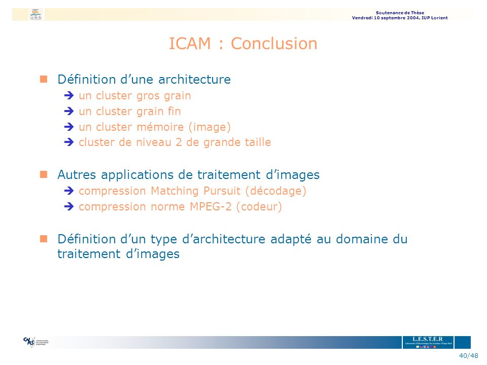 ICAM : Conclusion Définition d'une architecture