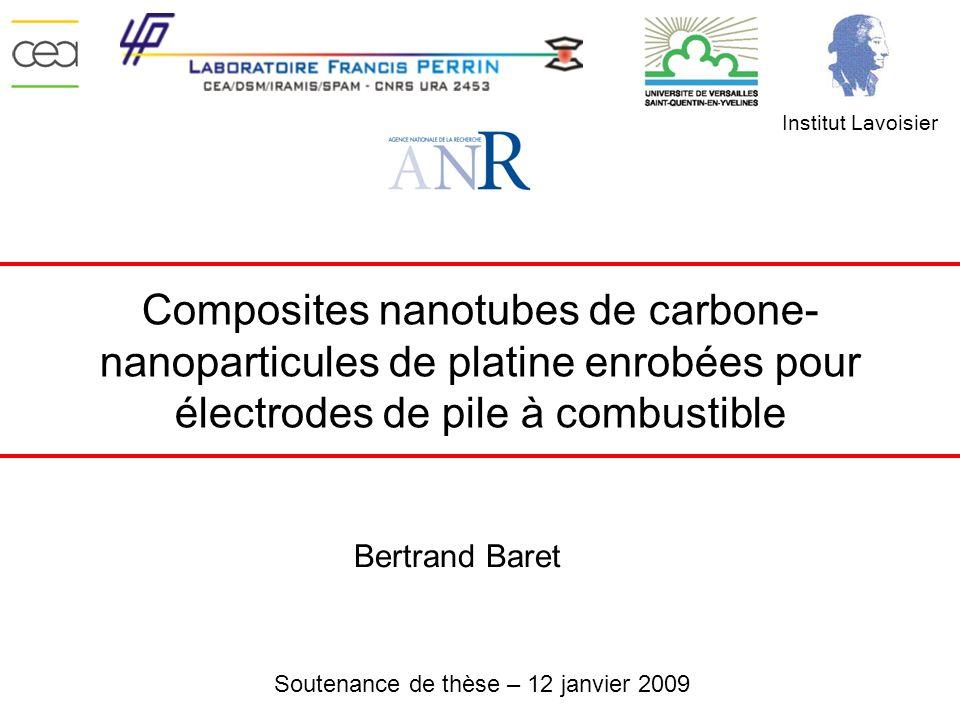 Institut Lavoisier Composites nanotubes de carbone-nanoparticules de platine enrobées pour électrodes de pile à combustible.
