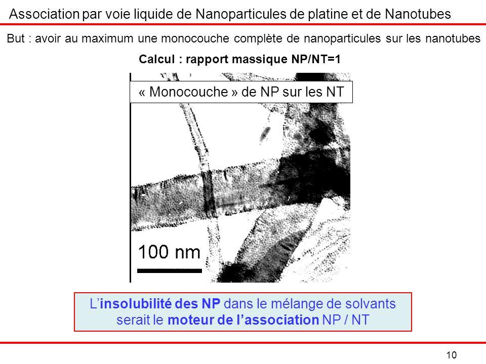 « Monocouche » de NP sur les NT