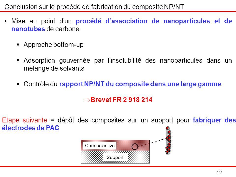 Conclusion sur le procédé de fabrication du composite NP/NT