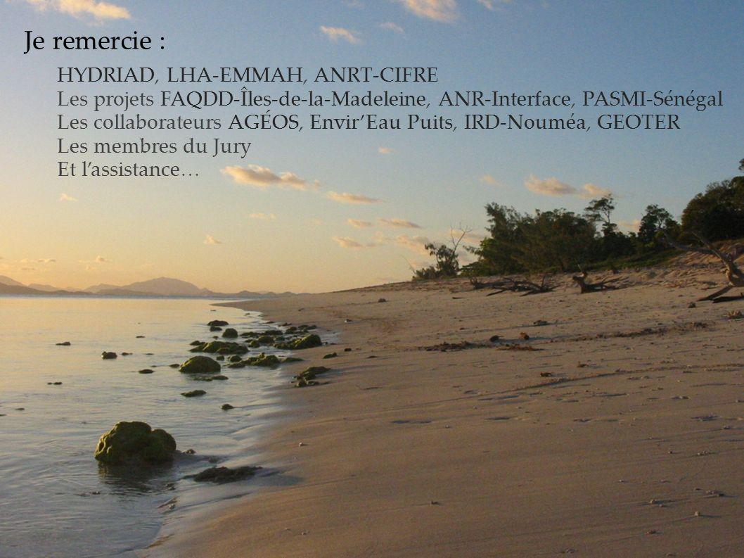 Je remercie : HYDRIAD, LHA-EMMAH, ANRT-CIFRE. Les projets FAQDD-Îles-de-la-Madeleine, ANR-Interface, PASMI-Sénégal.
