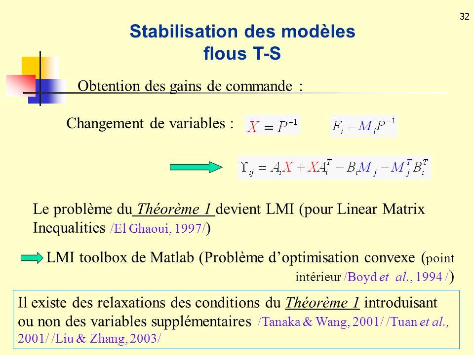 Stabilisation des modèles flous T-S